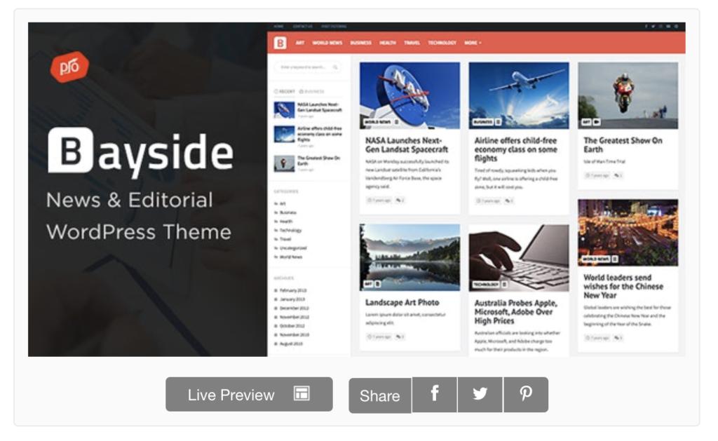 preview of news aggregator WordPress theme Bayside