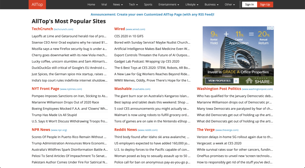AllTop, a popular news aggregator website.