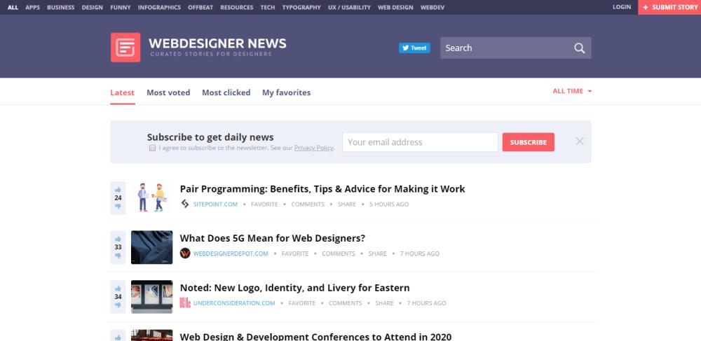 Web Designer News, a niche news aggregator website.