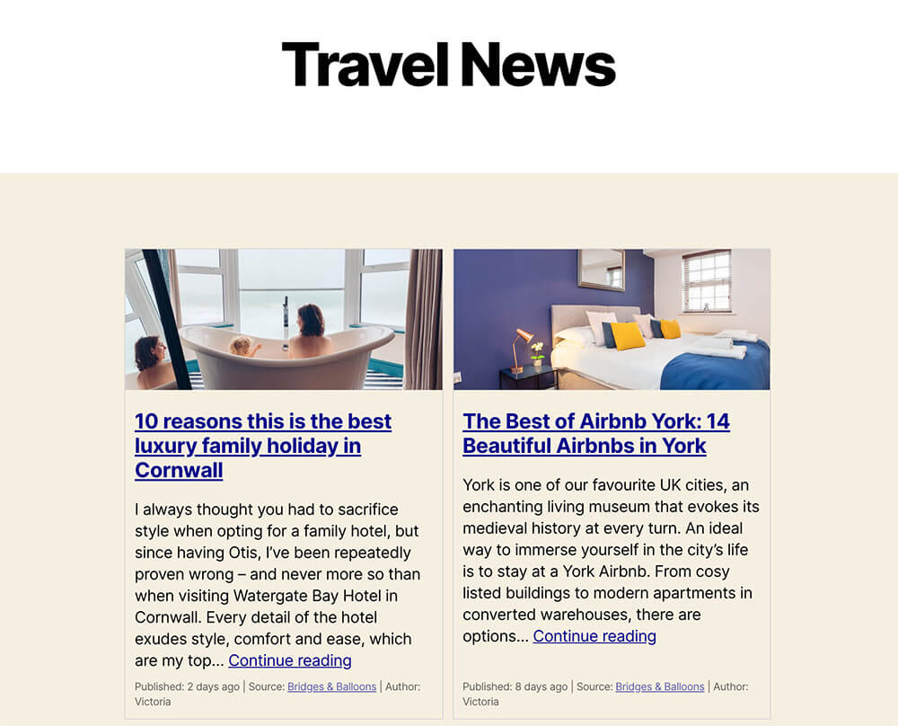 An example of WP RSS Aggregator's grid template used to display aggregated news.