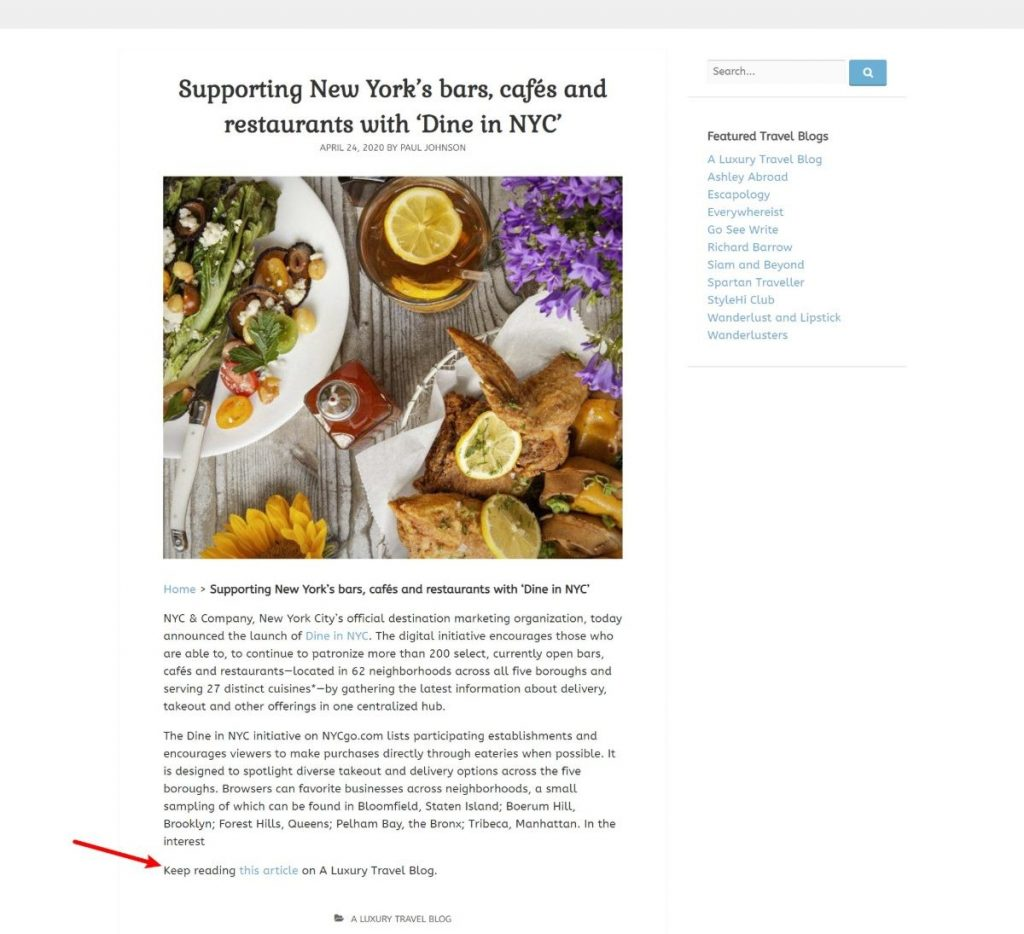 Add RSS feeds to WordPress blog posts like Travel Blogger Community