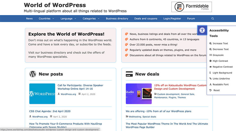 World of WordPress homepage